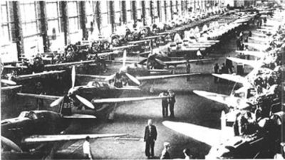 A Soviet factory cranking out Yak fighters around 1942.