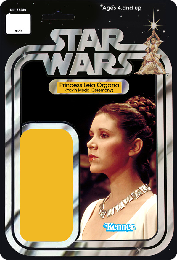 Figure #8 of Collect All 21 revealed: Princess Leia Organa (Yavin Medal Ceremony) A strong-willed warrior who fought the Rebel cause with great courage, Princess Leia Organa was a natural born leader of the Rebel Alliance. The princess always carried herself with a regal air, whether she was taking part in the fiercest of battles or participating in state ceremonies of the highest level. Although she was adopted at a young age into the Royal House of Alderaan, Leia was in fact a true princess, as her birth mother was Queen Amidala of Naboo. - from the modern Hasbro/Kenner card back ©1998