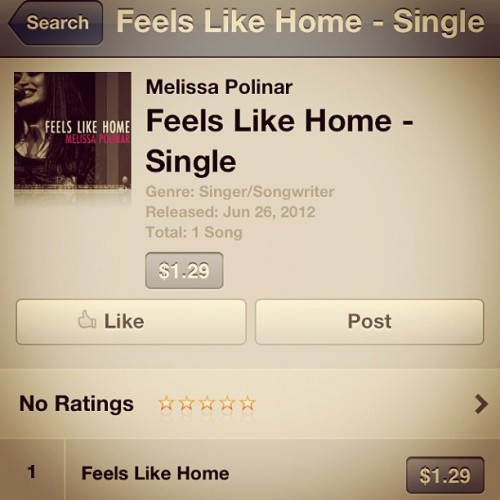IT'S HERE!!!!!!!!!!!!!!!!!!!! Ahhhhhh!!! #feelslikehome #itunes #melissapolinar #mpolinar  (Taken with Instagram)