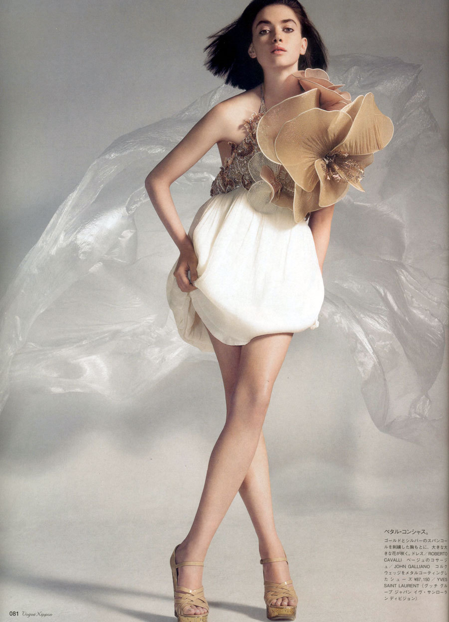The Mini Myth | Vogue Nippon March 2007  Rachel Alexander by John Akehurst Dress: Roberto Cavalli | Spring 2007 RTWFlower: John Galliano | Spring 2007 RTW