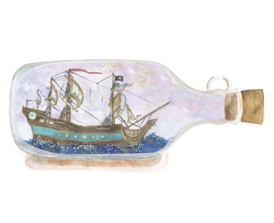 (via Ship in a Bottle Art Print by Stone and Feather | Society6)
