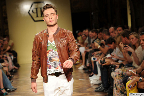 Ed Westwick walks the runway for Philipp Plein. Photo by: Jacopo Raule/WireImage. [via NY Mag]