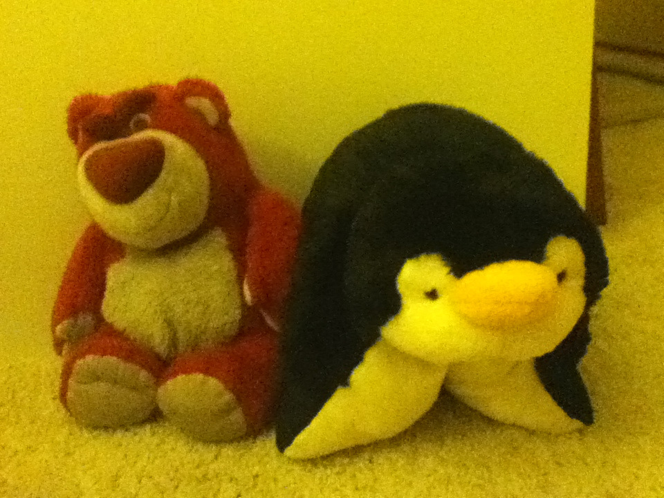I wish my pillow pet and Lotso would get married and have a baby so I could possibly have a Lotso pillow pet. ; O ;