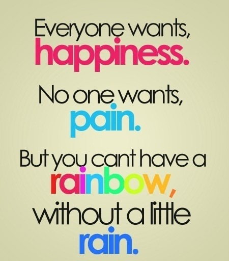 lovequotespics:  Everyone wants, happiness. No one wants, pain. But you can't have a rainbow, without a little rain.  Truth