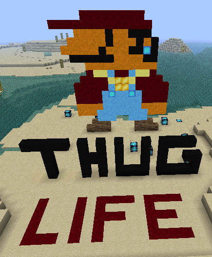 applecore-steamboat:  Thug mario in minecraft