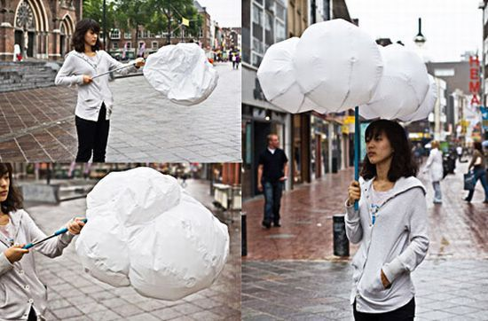 hansel's inspiration of the day: the whimsical, (and genius), cloud umbrella, whose whole concept is based around the fact that happiness is the most important concept for people in gloomy weather.