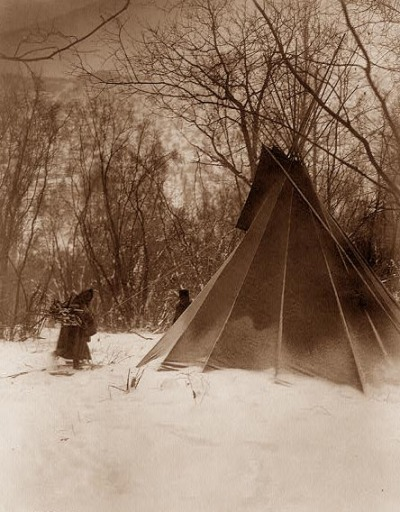 "You are viewing an original photograph of a Sioux Indian Tepee.  The photo is by Curtis, and was taken in 1908. Curtis Captioned the image ""When Winter Comes"". It shows several Indians scurrying for the warmth and safety of their Tepee.  It appears very cold, after a fresh snowfall."