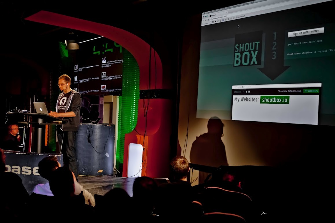 Found Photo: Moviepilot Labs's own @omdb at the Berlin Hack and Tell #8 in/hackable  Photo by Sebastian Glowinski for Berlin Hack and Tell