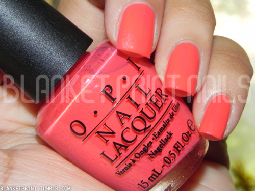 Color: I Eat Mainely Lobster (OPI)Retail Price: $8.50 (USD) I'm not sure if my local Ulta is the only one that's doing a 2 for $12 OPI special, but I totally took advantage of it! They're offering some Ulta-exclusive OPI shades, OPI shatters, and a few shades from the fall 2011 Touring America collection. I Eat Mainely Lobster is from the fall 2011 Touring America collection, but instead of holding onto this for a couple more months, I decided to review it now because I think the color is actually more fitting for summer than for fall! I Eat Mainely Lobster is a bright coral with duochrome pink and gold shimmer. Like I said, the brightness makes this perfect for summer, but I think the shimmer needs to be way more apparent. It's so pretty, but even in the sunlight, it's just barely there! The formula for this shade wasn't as good as I hoped. Application is really streaky, and despite how pigmented the coral looks, I needed three coats to achieve bottle color. Still, I think it's worth noting that the final manicure looks great! Like I said, I Eat Mainely Lobster is supposed to be a fall color (maybe that's why the shimmer is sooo subtle), but I think it's perfect for your tips or toes as summer winds down.