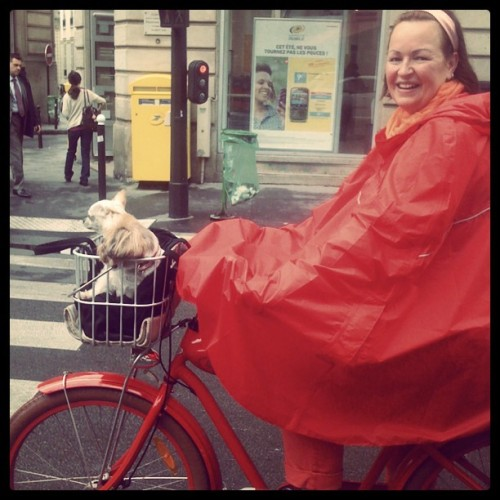 This woman has the most incredible bike style and made my rainy day.#cyclechic (Taken with Instagram)