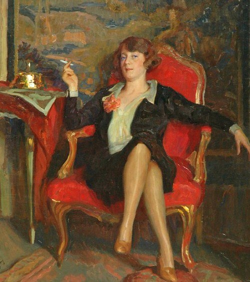 The new western woman of the 1920s 1927 Fritz Reusing (German artist 1874-1957) Portrait of a Smoking Lady Source: bjws.blogspot.co.uk
