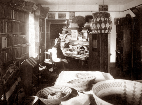 George Wharton James in his workshop, ca. 1910s.