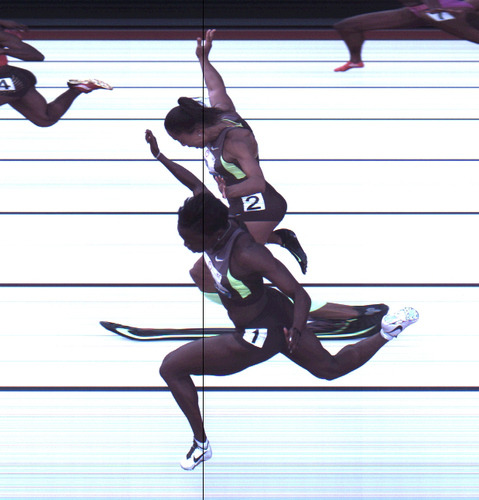 "First ever 'dead heat' photo-finish at US Olympic trials  US sprinters Allyson Felix and Jeneba Tarmoh both crossed the finish line in exactly 11.068 seconds on Sunday to tie for third place in the final of the women's 100 meter Olympics qualifier. The ""dead heat"" finish was captured by a single camera shooting 3,000 frames per second located on the inside of the track — a second outside camera that's traditionally used for photo-finish images was obscured from determining third place due to the athletes' arms (the torso position determines the winner). […] if neither athlete declines her position on the Olympic team then a tie-breaker will be determined by a coin toss or run-off."