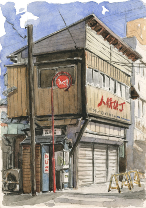 An old building in Niigata, by Olivier Pichard Watercolour on location. Japan, november 2009.