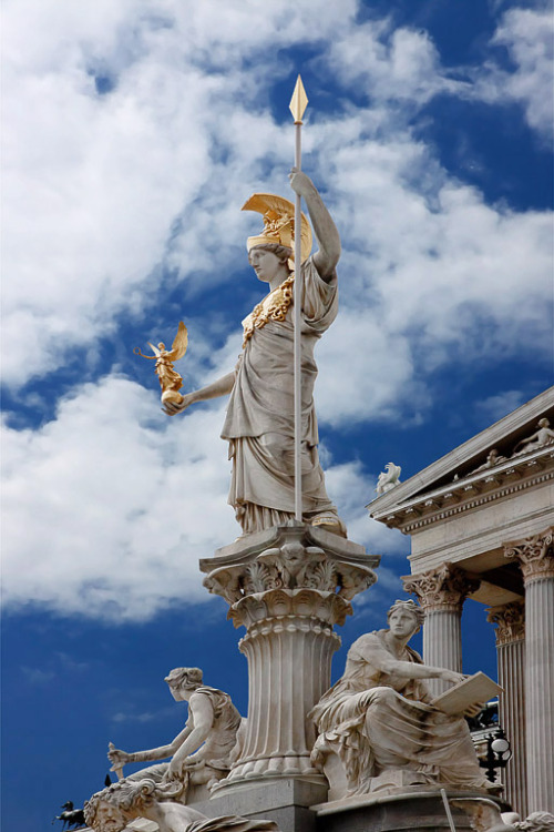 travelingcolors:  Pallas Athena outside the Austrian Parliament Building, Vienna | Austria (by Jasmine Wang)