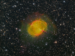 "spacettf:  M27 The Dumbbell Nebula H-Alpha, OIII & SII ""CFHT Palette"" by Terry Hancock www.downunderobservatory.com on Flickr."