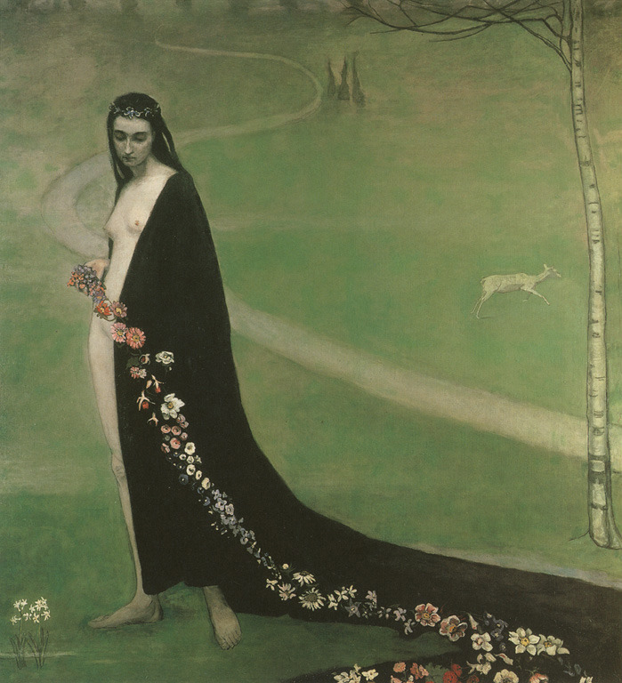 artshers:  Romaine Brooks, Femme avec des fleurs, ca. 1912. Collection Lucile Audouy, Paris, France.