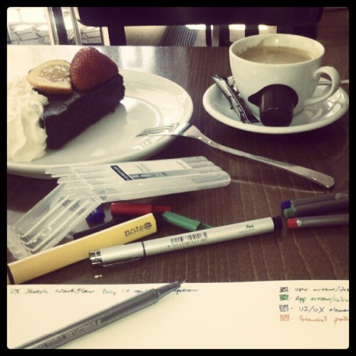 Chocolate cake, coffee, UX scenarios and UI wireframes, sometimes my normal Saturday morning. #losrinreality (Taken with Instagram)