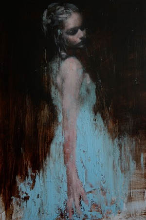 "somewhatreal:  Mark Demsteader, The Yellow Dress. Oil on board, 100cm x 70cm. Mark Demsteader, Study for The Gathering. Oil on board, 30 x 20"". Mark Demsteader, Study for Wilderness II. Oil on board, 20 x 30"".  Hello ladies."