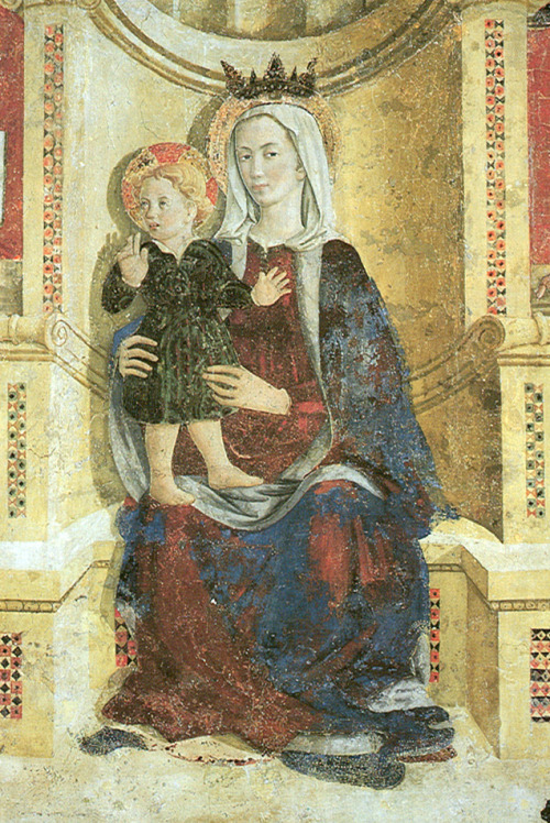 "Girolamo di Giovanni, Madonna with Child, St.Nicolas, and Saint Antony the Abbot (detail) And I was all like ""Ooh, girlfriend, do not get me started on Magic Mike. Channing Tatum? I'd let him turn my water to wine any day."""