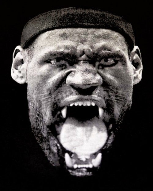 "nbaoffseason:  thecoachingstaff:  nbaoffseason:  Looks like LeBron's ""vampire"" shirt is actually as Lion shirt.  I'm guessing this was done by Nike, who currently uses the Lion insignia for all LeBron related products.  @Suga_Shane   possibly done by nike but i kinda feel like it maybe personally made for him by givenchy since lebrons already got a ""watch the throne"" edition of his latest shoe its cool either way  Just got this tweet from @NIQQ: ""the shirt is actually a parody of the watch the throne artwork. its by Lebron's store Unknwn and is rereleasing tmw."""