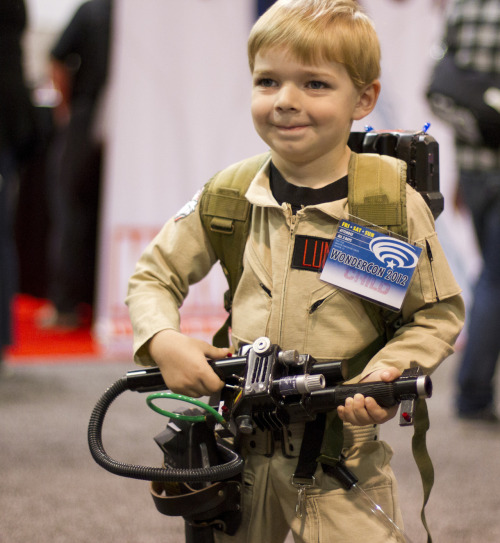 cosplayingchildren:  [Image Description: What kills me is that this miniature Ghostbuster seems to be capable of Rick Moranis facial expressions.]