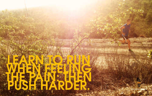 Learn to run when feeling the pain: then push harder.