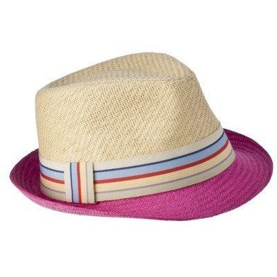 Color block fedora with a grosgrain stripe detail… $13 Target Mossimo Supply Co. 2-tone Fedora with Stripe Grosgrain Trim Pink