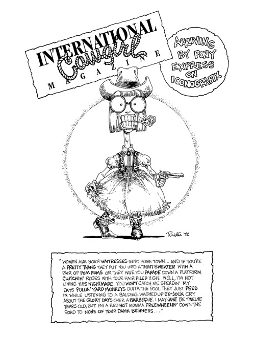 Promotional ad for International Cowgirl Magazine by Mark Ricketts, 1992.