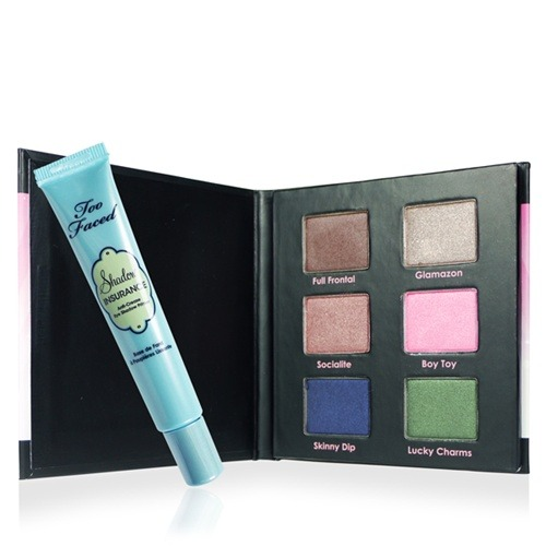 "3 Reasons To Get The Too Faced Eye Shadow Insurance Policy Collection Who says splurges need to cost an arm and a leg? This is by no means a new product or collection. It's a staple in Too Faced's range, and for good reason. If you get it from beflurt.com, I can't describe it as anything other than a REALLY good deal, and if you need me to spell it out for you, here's why. —  1. You get 6 high-quality, high-impact shadow shades spanning a pretty good color spectrum.  If you're just building up your color collection and want a little of everything, this palette gives you 2 of each family; from neutrals like Glamazon (sparkly ash-beige) and Full Frontal (rich chocolate), to warm tones like Boy Toy (candy-pink) and Socialite (coppery-russet), and cooler tones like Lucky Charms (deep emerald green) and Skinny Dip (satiny navy). I've been a long-time fan of Too Faced shadows because they are finely-grained and very pigmented so you don't need to really load it onto your brush to get good color pay-off. This means you use less. At the same time, they aren't so soft and crumbly that you need to worry about tons of fallout on your cheeks. The only thing is that these do not come in any matte shades so if you don't like metallic/pearl finishes, this will not be for you.  Shade-wise, I love Glamazon and Socialite. Lucky Charms is a dupe of the much-coveted and long-discontinued MAC Pigment ""Green"". Skinny Dip is the least pigmented of the bunch but pretty nonetheless. — 2. It comes with a full-size Eye Shadow Insurance, which retails for US$18. This is one of the most popular eye primers in the world, so if you're in the market to invest in a good quality product that doesn't change the texture or color of your shadows, and can help them to go on stronger and stay on longer, you'll be happy to know it's included in this set. — 3. It's incredible value for money.  A MAC shadow costs $15 for 1.5g of product. Too Faced Single shadows cost $16 each. In this palette, it might not look like it, but you're actually getting 6 full-sized pans of shadow (1.8g of each shade; more than a MAC pan) PLUS a full-size primer for $38, which works out to about $5.40 per product.  Throw in the beflurt discount on top of that, and you just got 6 full-sized high-end shadows and primer for under $3.90 each. That's for products that cost $16-18 individually. — P.S. You get an additional 10% off when you enter MAKEUPBOX in the coupon code box during checkout. Whether you're looking for a birthday gift or just a splurge for yourself, you don't need to look further. Need I say more? Note: Too Faced products are ""tested on celebrities, not animals""."