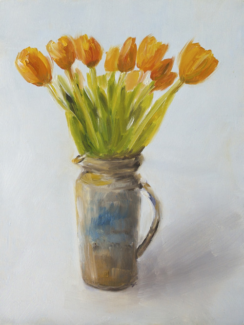 Tulips, oil on panel, 9 x 12 inches, 2010 $675 plus to-be-determined domestic UPS ground shipping and handling. Click Shipping Details for UPS shipping. Transactions accepted via PayPal, please contact the artist.