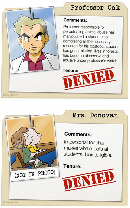 Tenure Review for Fictional Teachers [Click to continue reading] Denied! Denied! Denied!