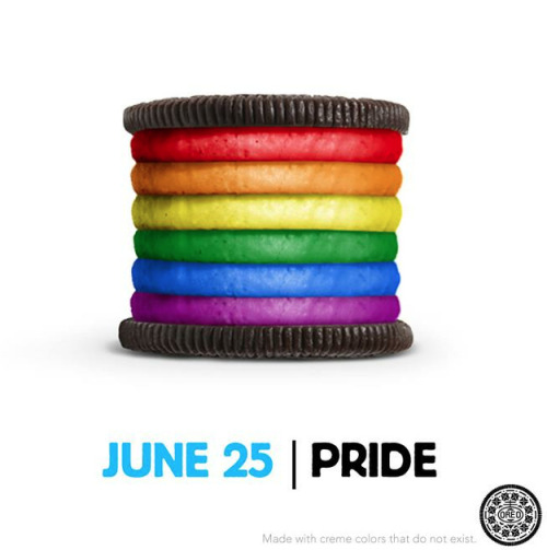 "Oreo showed its support of gay pride on its Facebook page with an image of an Oreo cookie with rainbow creme filling under the title ""Proudly support love!"" The image immediately generated more than 18,000 comments both in support and opposition to the brand. It also sparked a Change.org petition to make the Photoshopped cookie into the real thing. (via The Daily Dot)"
