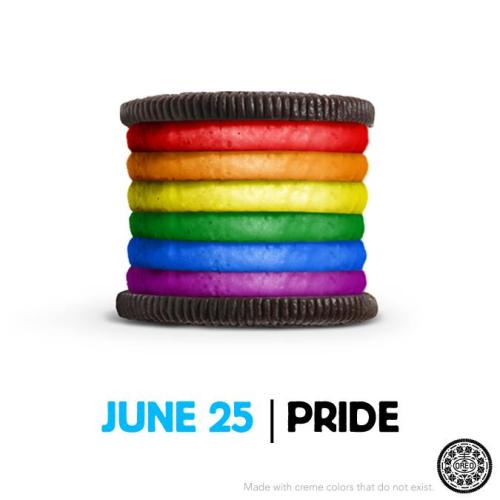 glaad:  Reblog if you love this awesome LGBT Pride Oreo!   I like the concept, but I keep trying to figure out how I'm supposed to eat that giant oreo. Not sure it's doable.