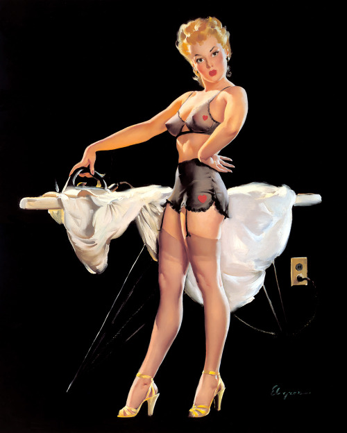"""He Kept Pressing Me"" by Gil Elvgren, 1948"