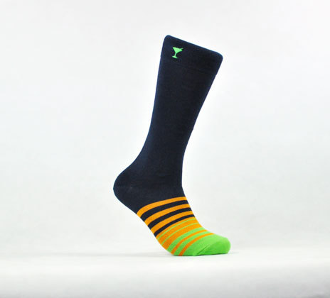 These wonderfully festive, but business appropriate socks are from an online store called Party In Your Shoes. These socks are obviously for the business type that also enjoys a little fun on the weekend. Anyone that wants to be business appropriate, but feels the need to have some color touching their skin will love these socks. I, for one, think they're awesome. They are a little thicker than your normal dress sock that you would buy at a department store, but I kinda like that.