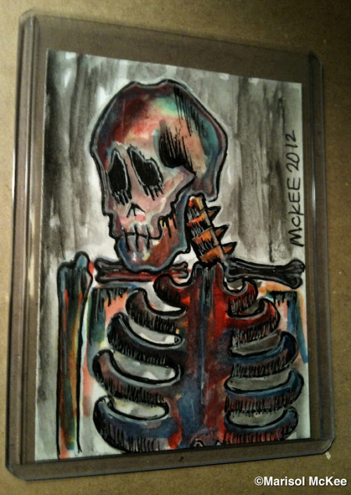 Calaveras #37.2 ½  inches x 3 ½  inches or 6 cm x 9 cm.Watercolor and ink on 110 lb. acid-free paper.Signed and dated on the front; title, date, and signature on reverse.Sealed with a matte finish.Comes in a clear rigid plastic top-loader.©Marisol McKee Available here … http://r.ebay.com/c2Q7W0