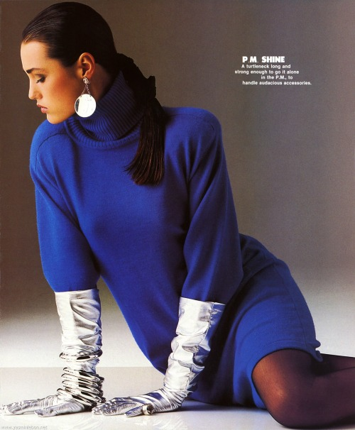 "80s-90s-supermodels:  ""Quick Change"", Elle US, November 1985Photographer : Gilles BensimonModel : Yasmin Le Bon"