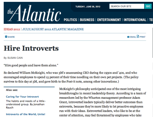 "theatlantic:  monkfishjowls:  Hell yeah, The Atlantic.  ""Introverts are persistent—give them a difficult puzzle to solve, and they'll analyze it before diving in, then work at it diligently. (""It's not that I'm so smart,"" said Einstein. ""It's that I stay with problems longer."") And they're careful risk-takers: less likely to get into car accidents, participate in extreme sports—or place outsize financial bets. (Warren Buffett is a self-described introvert who attributes his success to his temperament.)""  Read more."