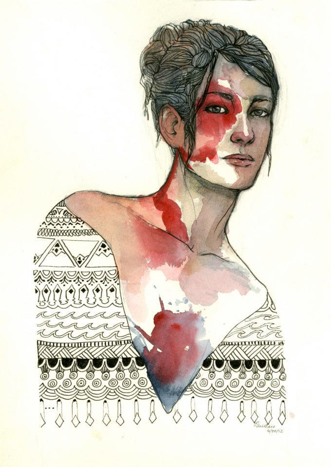 Watercolor, ink, and graphite. My blog is full of more of my art if you like what you see!