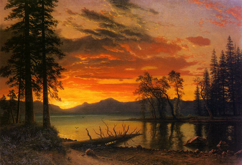 welovepaintings:  Albert Bierstadt (1830-1902)Sunset over the RiverOil on canvas132.08 x 93.98 cmPublic collection