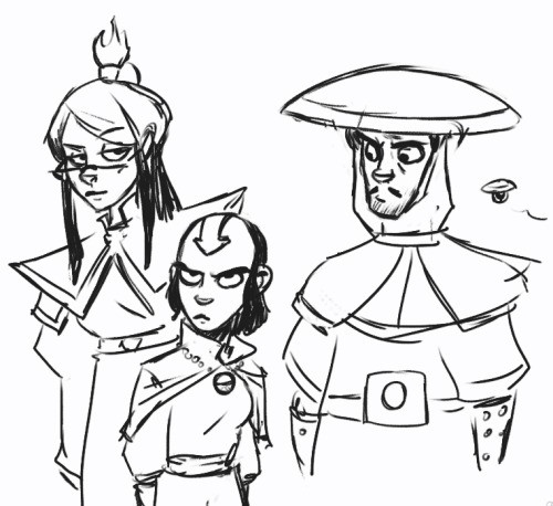 dresdencodak:  Warmup sketch: the cast of Dark Science as benders. Kim does not approve of her haircut.