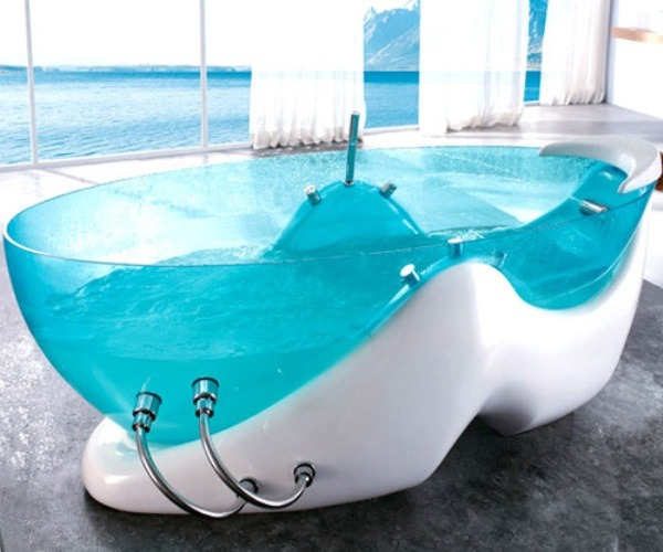 designed-for-life:  Unique Transparent Bathtub Designs By Korra. the idea of a unique design that combines the bathtub jet massage facilities on acupuncture points according to memeberikan extra comfort. This curved design to ensure the support of the entire body in proper relaxation center. design shapes made of transparent high quality acrylic board with blue color theme and fiberglass as the base. This is very futuristic and elegant in accordance with the comfort you need.  I want one!