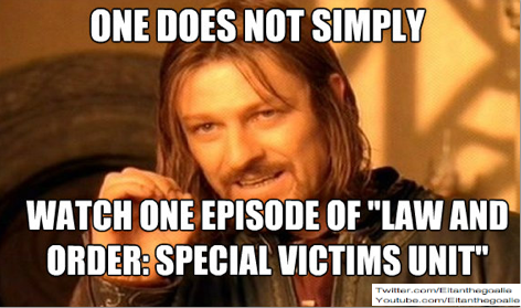 Law and Order: SVU marathon on TV right now. No work will be getting done today. Detective Olivia and Elliot, take me on a Justice quest!