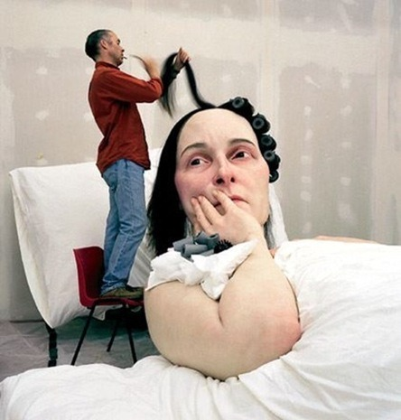 One of Ron Mueck's hyperreal sculptures