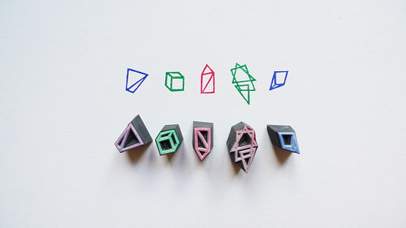 Hand Carved Geometry Rubber Stamp Set