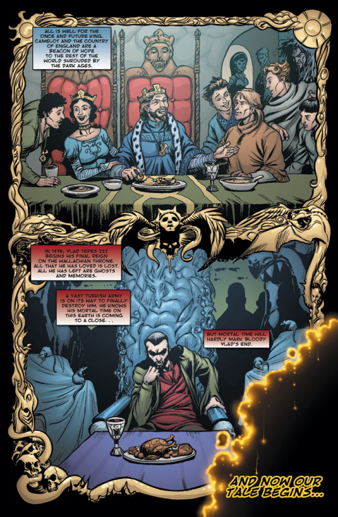 Preview: Page Five of Dracula vs King Arthur. The table is set, let the match begin! Click through the image to find out more details about our Kickstarter campaign to raise funds to get the book back in print!