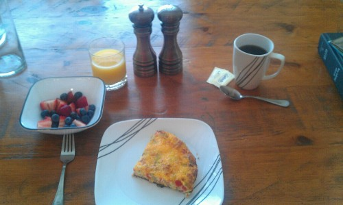 Homemade frittata and fresh fruit for Phillie's birthday breakfast this morning
