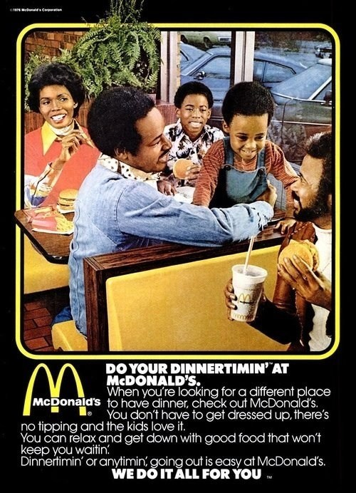 "thedailywhat:  From The Archives: From 1970s-era McDonald's, unabashed pandering to blacks — no tipping! [hypervocal]  ""Hey Hey, let's go to McDonalds!"""