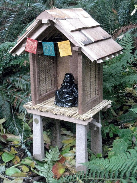 Finished and in place…Buddhist garden shrine by jancient on Flickr.